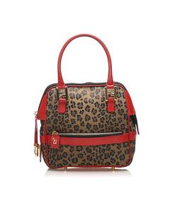 Fendi Leopard Print Nylon Handbag Brown
