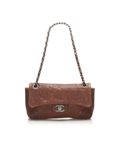 Chanel Caviar Leather Wild Stitch Single Flap Brown