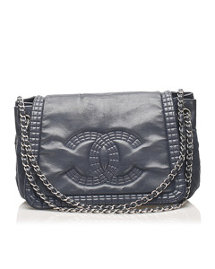 Chanel Cc Chain Lambskin Leather Shoulder Bag Blue
