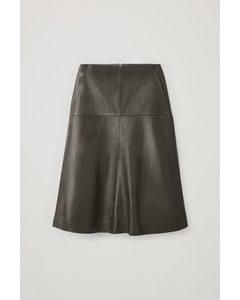 A-line Leather Skirt Khaki Green