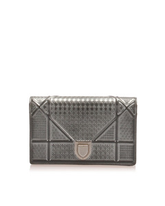 Dior Micro-cannage Diorama Patent Leather Crossbody Bag Silver