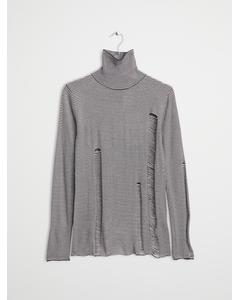 Scrap stripe knit Black/Dirty white