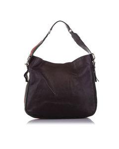 Gucci Web Heritage Leather Shoulder Bag Brown