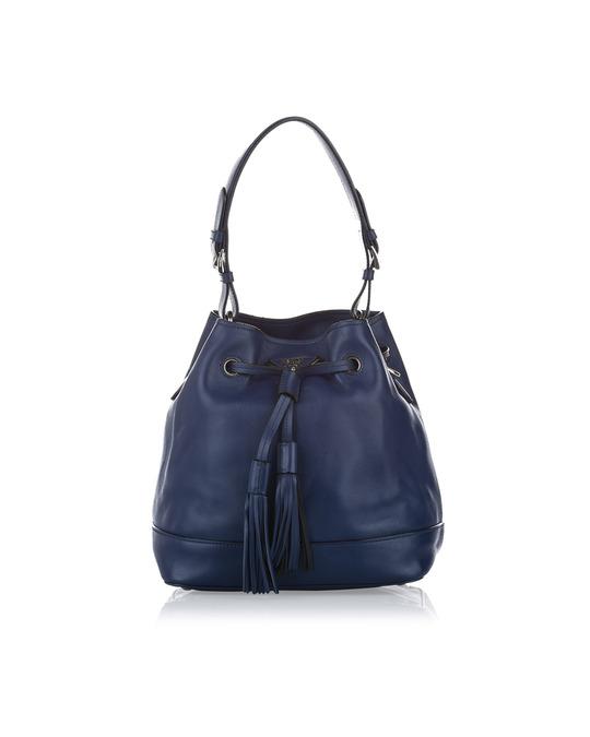 Prada Prada Leather Bucket Bag Blue