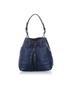 Prada Leather Bucket Bag Blue