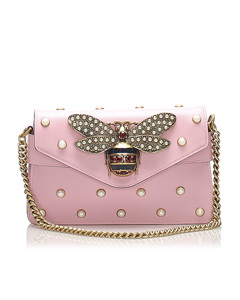 Gucci Broadway Pearly Bee Leather Crossbody Bag Pink
