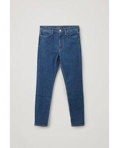 High Waisted Slim Fit Jeans Medium Blue