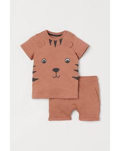2-teiliges Baumwollset Orange/Tiger