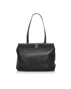 Ferragamo Vara Leather Tote Bag Black