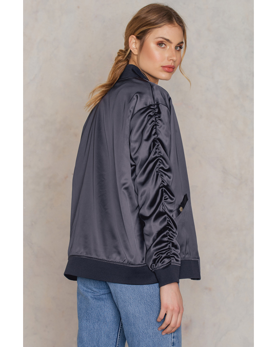 NA-KD Ruffled Sleeve Bomber Jacket Silver Blue