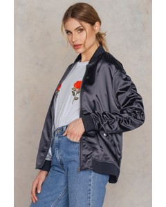 Ruffled Sleeve Bomber Jacket Silver Blue