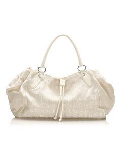Bvlgari Logomania Canvas Tote Bag White