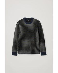 Striped Alpaca-wool Jumper Black / Khaki Green