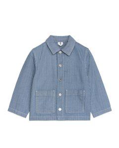 Workwear-Overshirt mit Hickory-Streifen Blau/Weiß