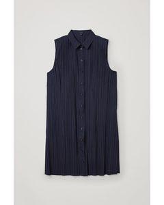 Sleeveless Pleated Shirt Dress Navy