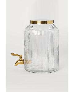 Dispenser Met Tapkraan Helder Glas/goudkleurig