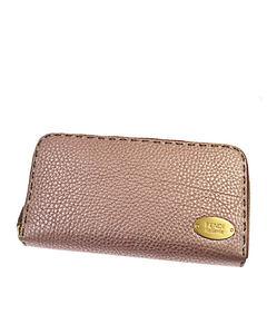 Fendi Selleria Zip Around Leather Wallet Pink