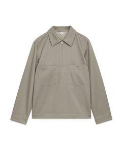 Cotton Lyocell Pop-over Shirt Beige