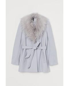 Mantel mit Faux-fur-Kragen Hellgrau