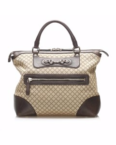 Gucci Diamante Horsebit Catherine Canvas Tote Bag Brown