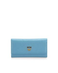 Mcm Ivana Bloom Trifold Long Wallet Blue