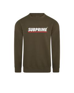 Subprime Sweater Stripe Army Groen