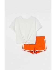 Tweedelige Katoenen Set Oranje/wit