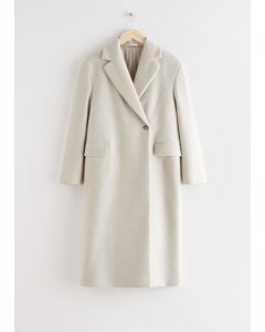 Relaxed Single Breasted Coat Light Beige