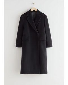 Locker sitzender einreihiger Mantel Schwarz