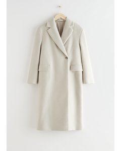 Locker sitzender einreihiger Mantel Hellbeige