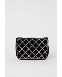 Makeup-väska Med Pärlor Svart/pärlor