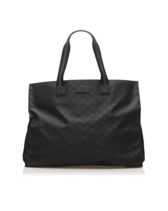 Gucci Gg Nylon Web Tote Bag Black