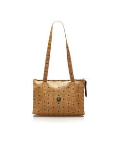 Mcm Visetos Leather Shoulder Bag Brown