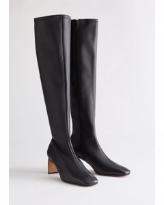 Tall Leather Sock Boots Black