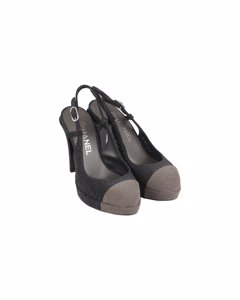 Chanel Gray Two Tone Glitter Cap Toe Slingback Pumps Heels Size 36c