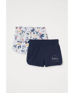 2-pack Sweatshirtshorts Ljus Gråmelerad/blommig