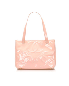 Chanel Triple Coco Patent Leather Tote Bag Pink