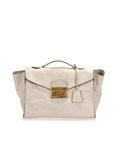 Prada Sound Lock Leather Satchel White