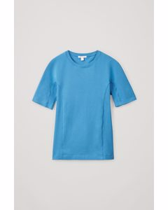 Slim-fit Organic Cotton Contoured Performance Top Blue