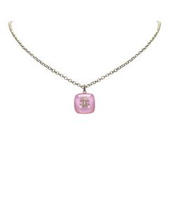 Chanel Cc Pendant Necklace Pink