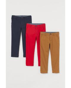 3-pack Slim Fit Chinos Klarröd/marinblå/brun