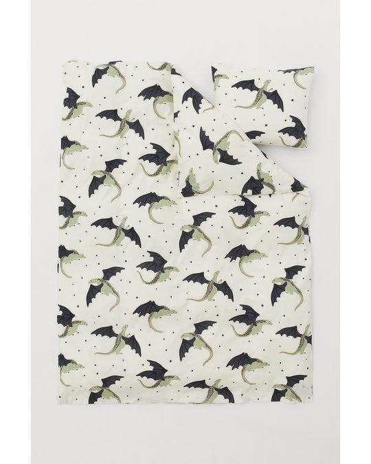 H&M HOME Patterned Duvet Cover Set White/dragons