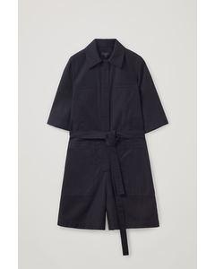 Cotton Twill Denim Playsuit Black