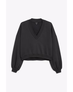 College-Pullover in Cropped-Passform Black