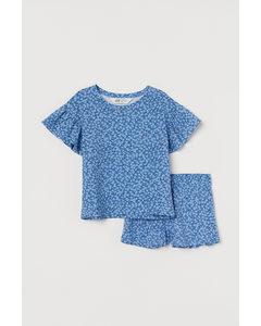 2-teiliges Baumwollset Blau/Geblümt
