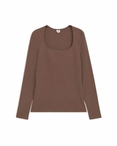 Square Neck Top Brown