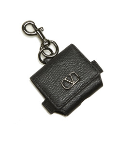 Valentino Vlogo Leather Airpods Case Black