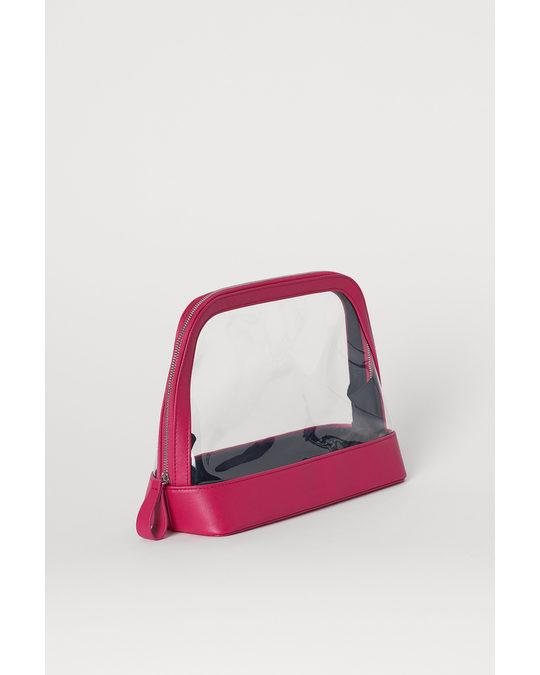 H&M Transparante Toilettas Donkerroze