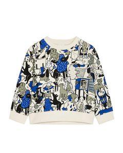 Bedrucktes Sweatshirt aus der Künstleredition Cremeweiß/Mehrfarbig