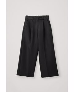 High-waisted Wide Cotton Trousers Black